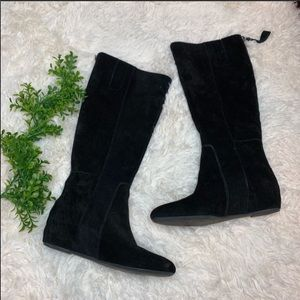 Nine West Black Suede Tall Zip Up Flat Boots